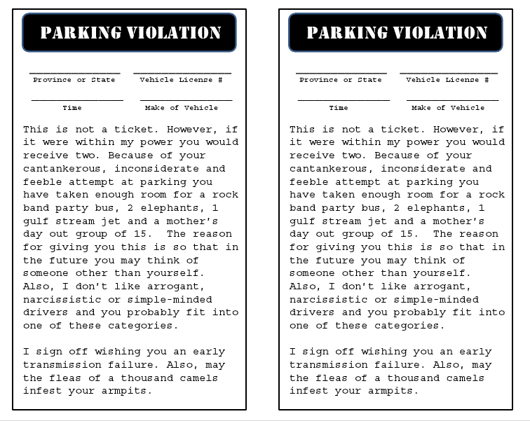 parking violation template free download printables unlimited. Black Bedroom Furniture Sets. Home Design Ideas